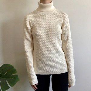Cream cable knit turtleneck sweater - Anne Klein